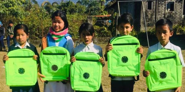 IIT professor Charu Monga designs solar LED backpacks for children of the Northeast living in areas without electricity